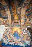 Väggbilden av frescoesna av den Rila kloster Arkivbilder
