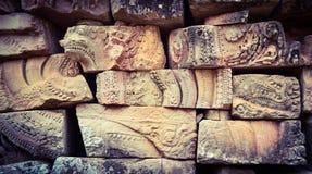 Väggdetalj i Angkor, Cambodja Fotografering för Bildbyråer