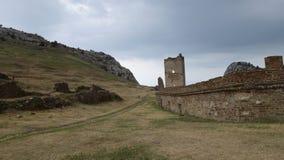 Väggen av den Genoese fästningen crimea royaltyfri fotografi