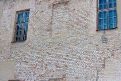 Väggen av den rekonstruerade gamla slotten i Grodno royaltyfria bilder
