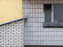 Väggen av det standarda stadshuset: ett gammalt träfönster med ett öppet fönster, vittegelplattor på väggen, ett tegelstenskjul a Royaltyfria Foton