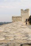 Väggen av en forntida fästning Arkivfoto