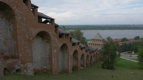 Väggen av Nizhnyet Novgorod Kremlin arkivfilmer
