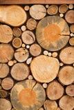 Väggen av staplat trä loggar som bakgrund, textur royaltyfri fotografi