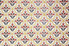 Väggen dekorerade rikt i den Bikaner slotten, Indien fotografering för bildbyråer