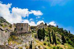 Väggen i Kotor, Montenegro Arkivfoton