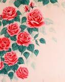 Väggen med målning steg Royaltyfri Fotografi