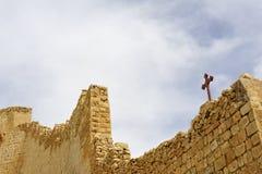 Väggfragment av den Mars Saba kloster, Israel. arkivfoton