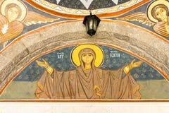 Väggframsida i den Rezevici kloster, Montenegro Petrovac Royaltyfria Foton