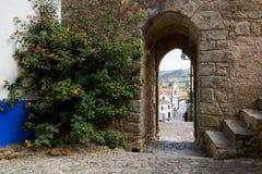 Väggingången till slotten, Obidos Royaltyfria Bilder
