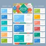 Väggkalender 2016 år Vektordesignmall med stället för ditt foto Uppsättning av 12 månader stock illustrationer