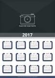 Väggkalender 2017 vektor illustrationer