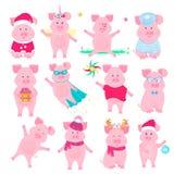 Väggkalender för 2019 från söndag till lördag Kinesiskt nytt år av det gula jordsvinet gulligt piggy royaltyfri illustrationer