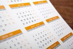 Väggkalender med nummer av dagar Royaltyfri Bild