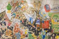 Väggkonstmålning på asakusastationen Arkivbild