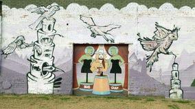 Väggkonstväggmålning i djupa Ellum, Dallas, Texas Arkivbild