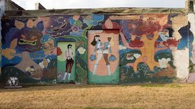 Väggkonstväggmålning i djupa Ellum, Dallas, Texas Royaltyfri Bild
