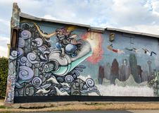 Väggkonstväggmålning i djupa Ellum, Dallas, Texas Royaltyfri Foto