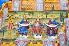 Väggmålning av Abraham, Isaac, Jacob på den Rila kloster, Bulgarien Fotografering för Bildbyråer