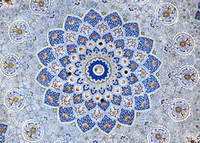Väggmålning av den Kok Gumbaz moskén, Uzbekistan Royaltyfria Bilder