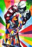 Väggmålning av den konstnärBrazilian konstnären Kobra Arkivbild