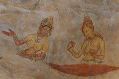 Väggmålning av den Sigiriya kvinnan Arkivbilder