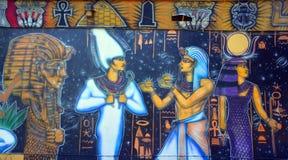 Väggmålning av egyptiska gudar Arkivbilder