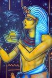 Väggmålning av egyptiska gudar Royaltyfri Foto