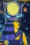 Väggmålning av egyptiska gudar Arkivfoton