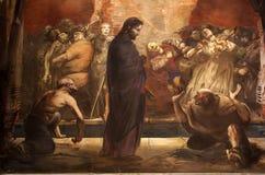 Väggmålning av förlöjliga av Jesus Arkivfoton
