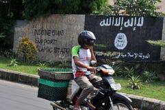 Väggmålning av ISIS-flaggan i Indonesien Royaltyfria Foton