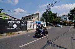 Väggmålning av ISIS-flaggan i Indonesien Arkivbilder