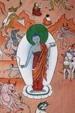 Väggmålning av Lord Buddha i en tempel Royaltyfri Foto