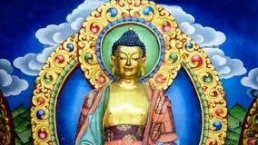 Väggmålning av Lord Gautama Buddha Royaltyfria Bilder