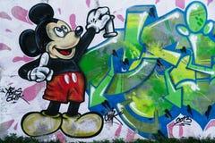 Väggmålning av Mickey Mouse Royaltyfri Fotografi
