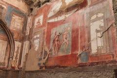 Väggmålning av Neptun och Aimone i romersk villa i Herculaneum, Italien Royaltyfri Bild