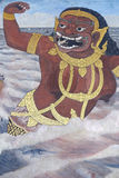 Väggmålning av Ramayana i Wat Pra Kaew, Bangkok, Thailand Arkivbilder