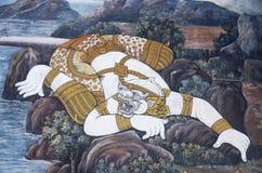 Väggmålning av Ramayana i Wat Pra Kaew, Bangkok, Thailand Royaltyfri Bild