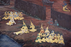 Väggmålning av Ramayana i Wat Pra Kaew, Bangkok, Thailand Royaltyfri Fotografi