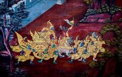 Väggmålning av Wat Phra Kaew Arkivbild