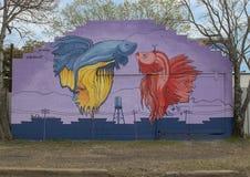 Väggmålning för `-Bettatude ` av Dan Colcer, djupa Ellum, Texas Royaltyfria Foton