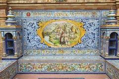 Väggmålning för keramisk tegelplatta på Plaza de Espana i Seville, Spanien Royaltyfri Bild