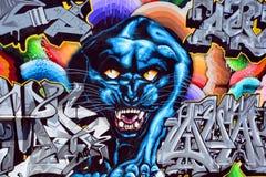 Väggmålning för svart panter Royaltyfria Bilder