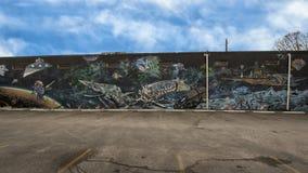 väggmålning för 42 vägg, unnamed surrealistiskt utrymmetema, djupa Ellum, Texas Royaltyfri Bild