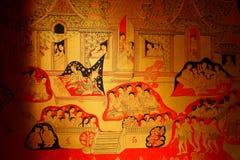 Väggmålning i den buddistiska kyrkan Royaltyfri Foto