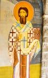 Väggmålning i kloster Rezevici i Montenegro Arkivbild