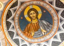 Väggmålning i kloster Rezevici i Montenegro Arkivbilder