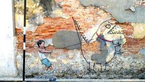 Väggmålning i Penang arkivbild