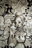 Väggmålning i svartvitt Arkivfoto
