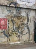 Väggmålning Kvinna och häst väggmålning Lhong 1919 Bangkok thailand royaltyfri bild
